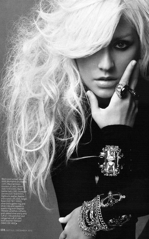 I like the look in her eyes. Fierce, with a little bit of anger. Christina Aguilera. InStyle UK. December 2010.