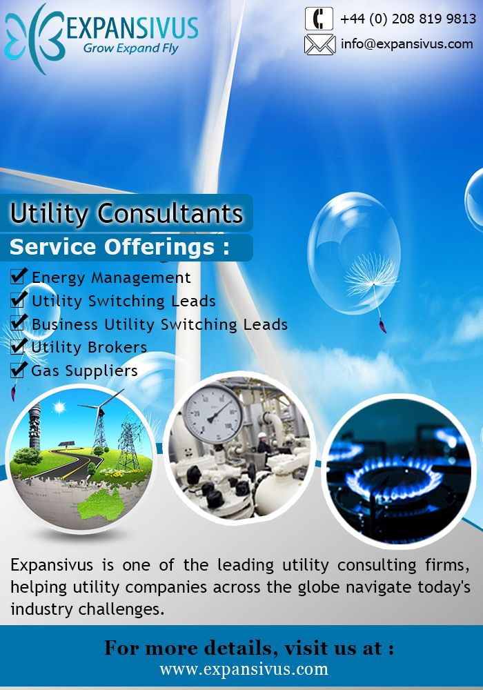 Avail consulting services by Expansivus, a full service consulting firm for utility sector. For More details please visit here: - www.expansivus.com/energy-and-utilities-services.html or call us: - +44 (0)20 8819 9813.