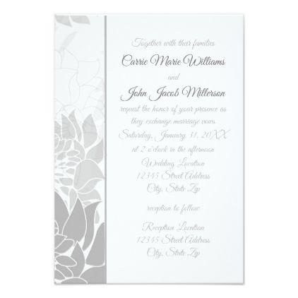 #flower - #Gray Elegant Floral Vertical-3x5Wedding Invitation
