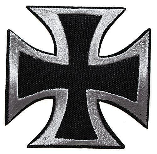 ecusson croix de malte biker moto motard rock hard noir gris 7,5cm hells angel: ecusson thermocollant 7,5cm environ, Cet article ecusson…