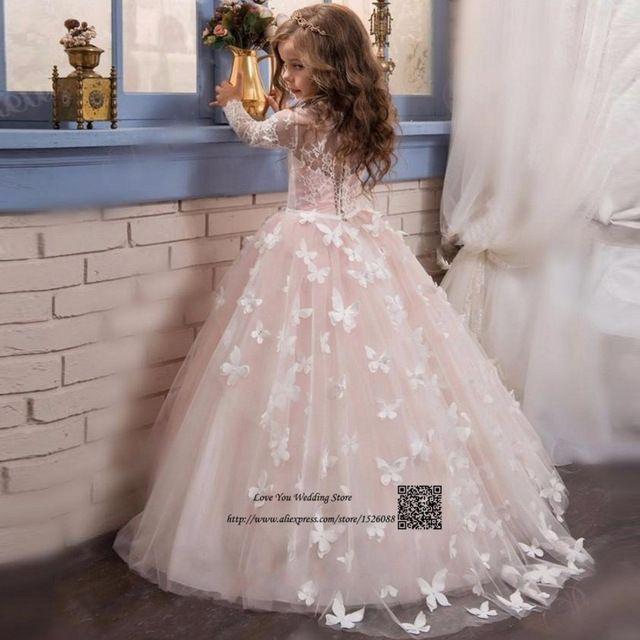 Robe de Soirée Enfant Fille Rosa Santos Primeros Vestidos de Comunión para Las Niñas de Manga Larga de Encaje Vestido de Niña de las Flores Vestido de Fiesta niños