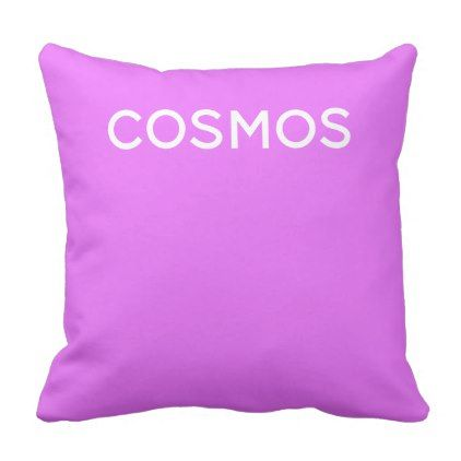 Cosmos purple color name throw pillow - simple clear clean design style unique diy
