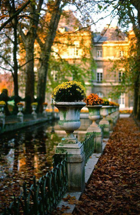 Le jardin du Luxembourg et au fond, le Sénat #Paris