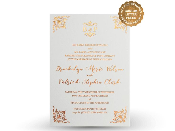 This invitation suite was custom made for a bride and groom planning a gorgeous wedding. ✓ HOT FOIL LETTERPRESS WEDDING INVITATION Hot Foil Stamping is a printing method using a custom made metal plate and foil film. Once digital proofing is done, we create a metal plate based on the