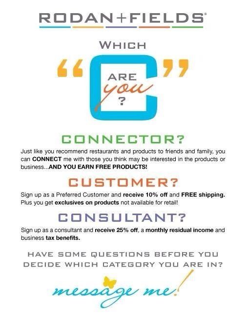Looking for consultants, customers and also connectors!  I have a great referral program - contact me for details!