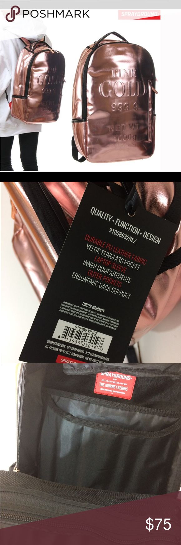 🆕LISTING Sprayground Rose Gold Backpack NWT Shinny Rose Gold backpack. Interior has separate laptop compartment. Mesh organizer pocket. Exterior has side zipper pockets, separate velour sunglass compartment. and more. Please see pickup for more description and measurements. Bundle it & I'll send you a private offer. Reasonable offer encouraged thru the offer button. Sprayground Bags Backpacks