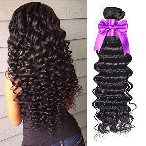 OYM HAIR 4 Bundles Brazilian Virgin Hair Deep Wave Extensions 10A unprocessed Human Hair Weave Natural Color can be Dyed and Bleached (8 10 12 14) Sale:$49.00