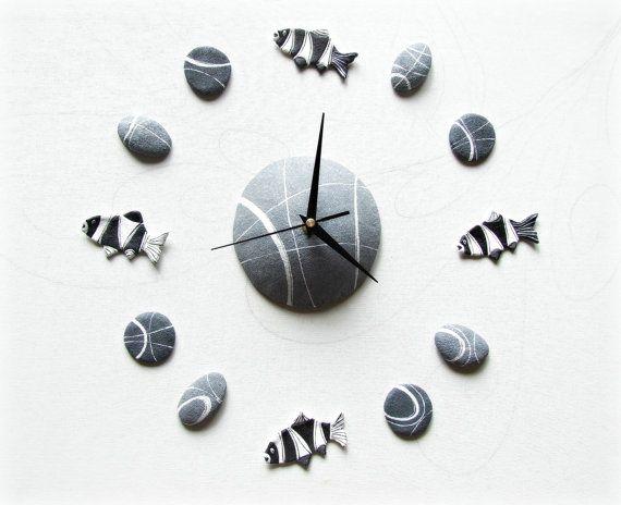 Tropical fishes wall clock Ocean stickers Beach di Sognoametista