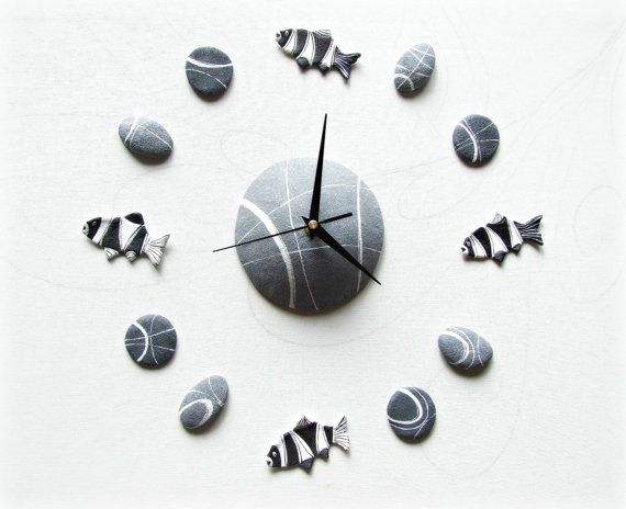 Tropical fishes wall clock Ocean stickers Beach di Sognoametista