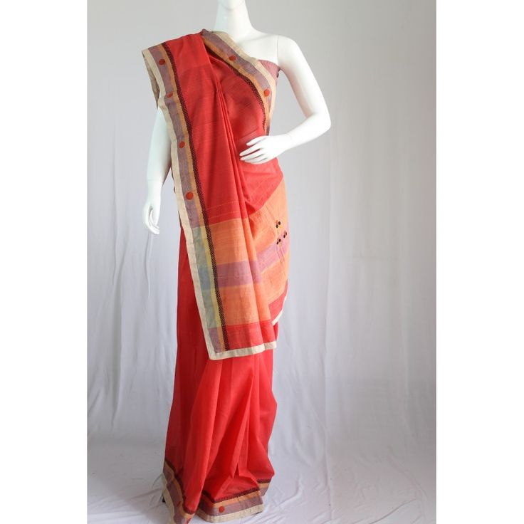 Red and peach embroidered handloom cotton saree - Kriti-Kala