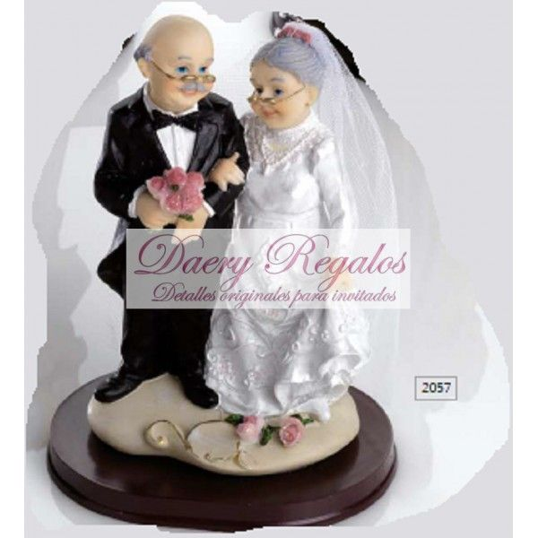 Pareja de Novios Mayores   Detalles de Boda   Detalles de Boda Baratos  Graciosa figura de tarta de dos personas mayores celebrando su boda