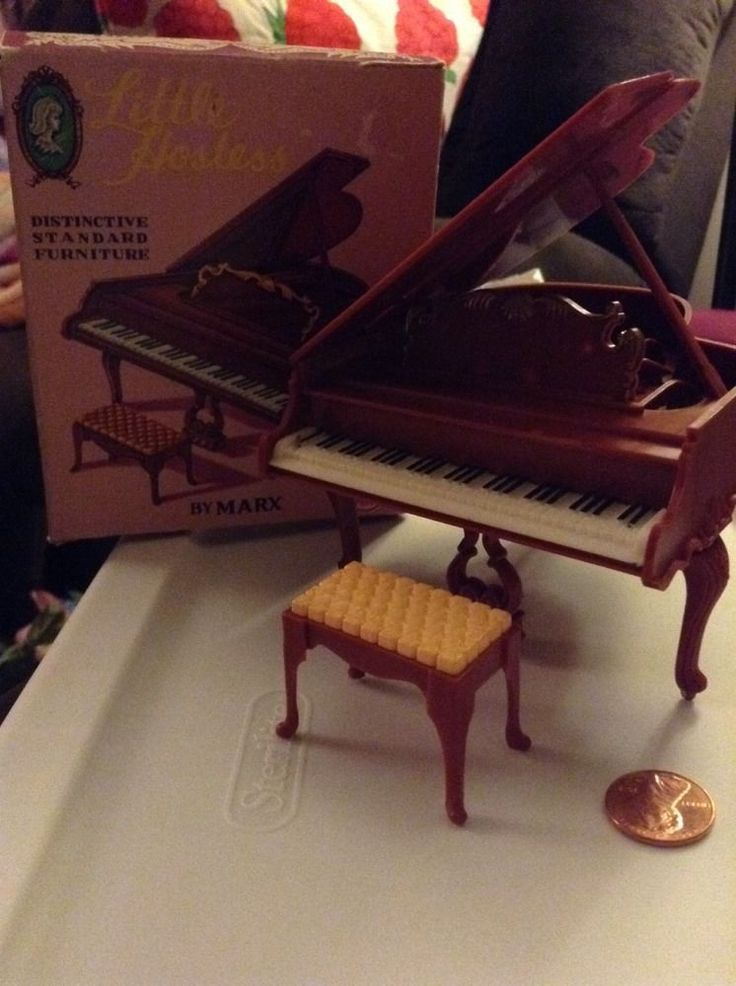 Vintage Marx Little Hostess dollhouse furniture Piano with Stool Bench and BOX #Marx