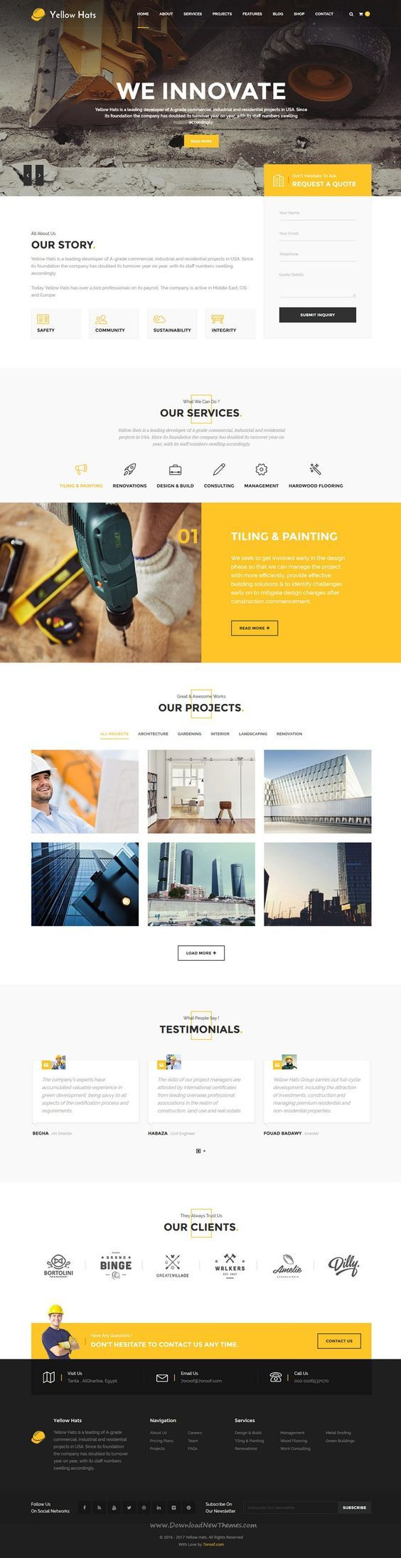 Yellow Hats is a stunning, professional and flexible WordPress #Theme based on Strong researches into the field of business, #Construction and Handyman Business #website. Download Now!: