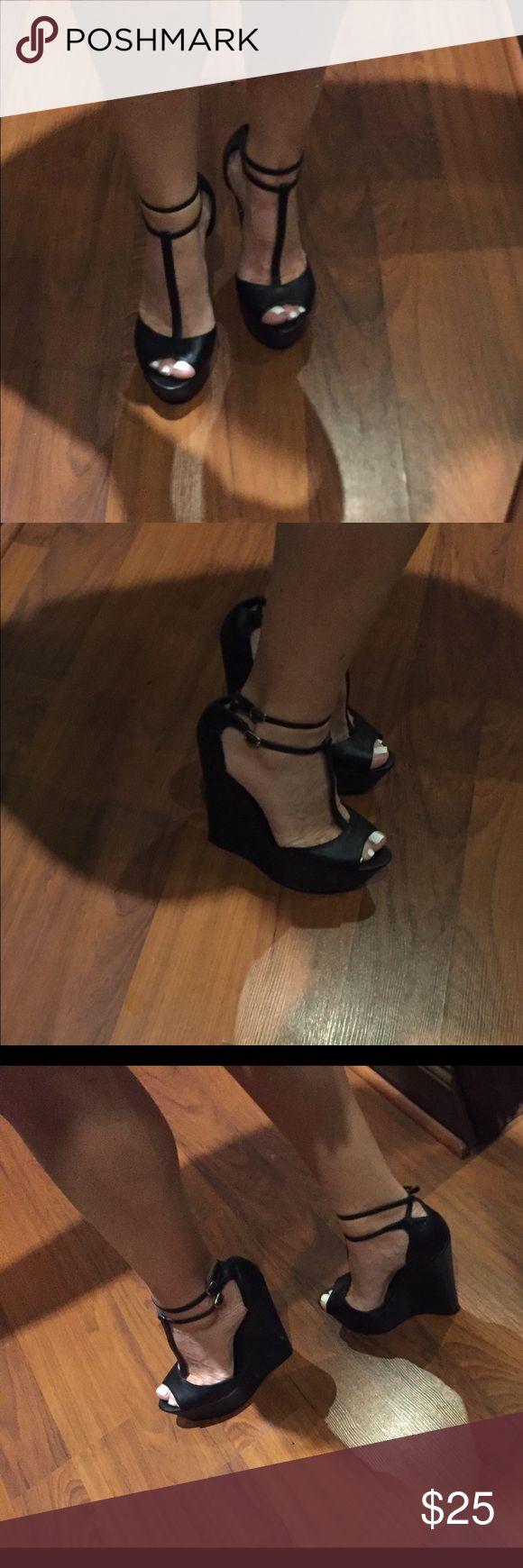 Steve madden T strap black wedges T strap black wedges size 6.5 Steve Madden Shoes Wedges