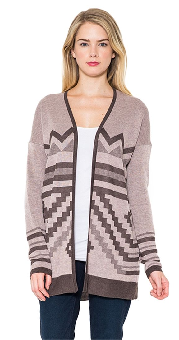 LAST CHANCE Aztec Cardi - available in rosewood or teal. A beautiful, open cardi with a relaxed fit, the main attraction on this piece is the tone on tone Aztec inspired detail. A great cardi to wear over your Uptown tee and denim!  Aztec inspired detail Dropped shoulder Model is wearing a S/M Long sleeves Open front cardi 100% Poly