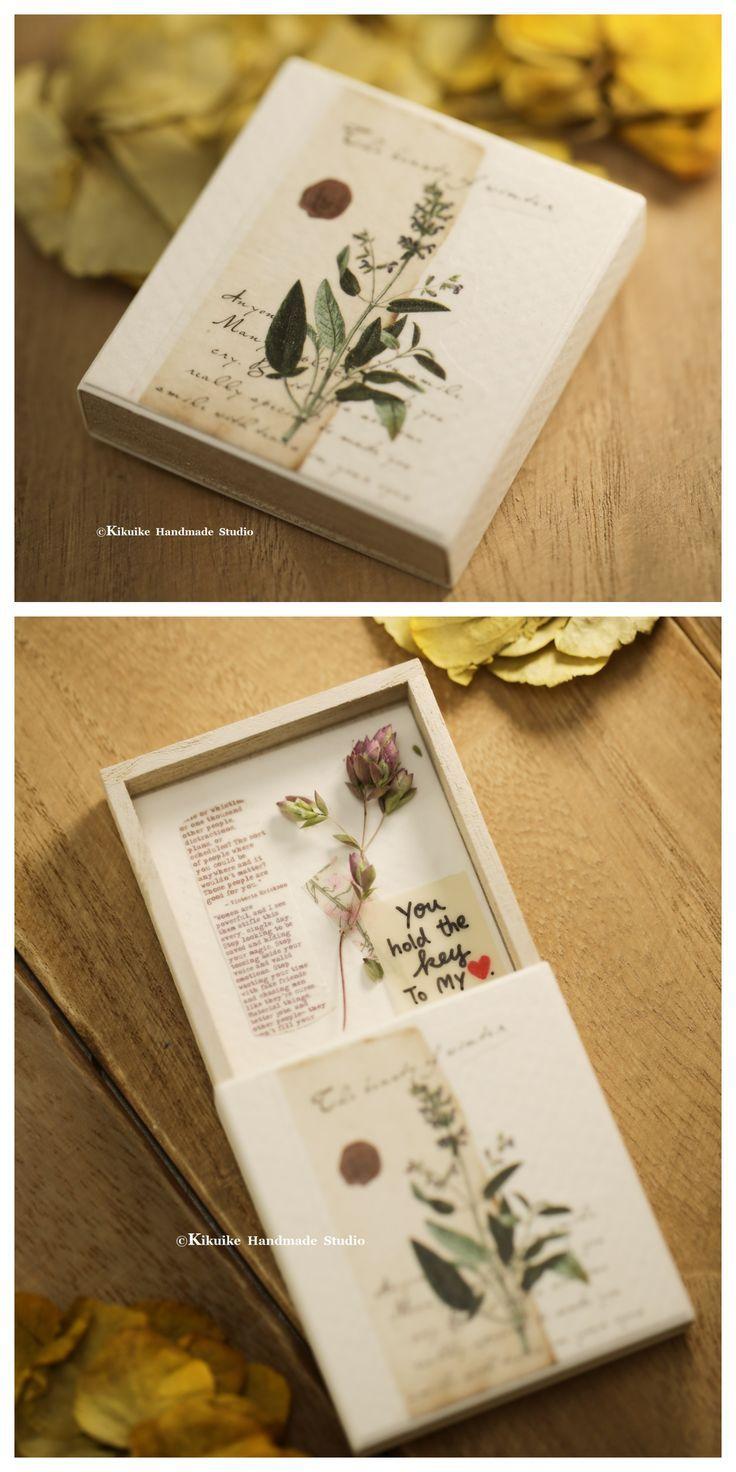 Matchbox Card Flower Cards Handmade Flower Gift Ideas Dried Flower Bouquet