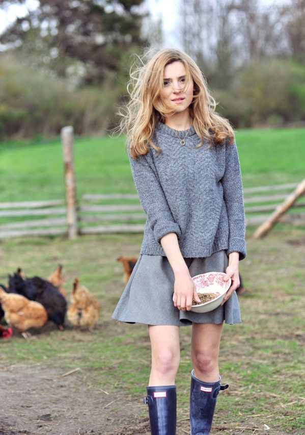 sweater /sweter – Mango  skirt / spódnica – Zara  wellies / kalosze – Hunter
