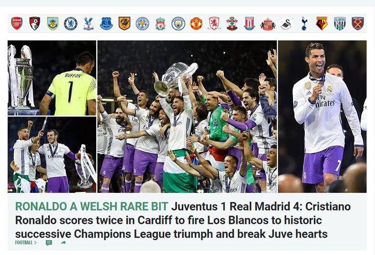The Sun (Inglaterra): Cristiano hace un doblete y dispara a los blancos a un histórico doblete consecutivo en la Champions y rompe el corazón de la Juve