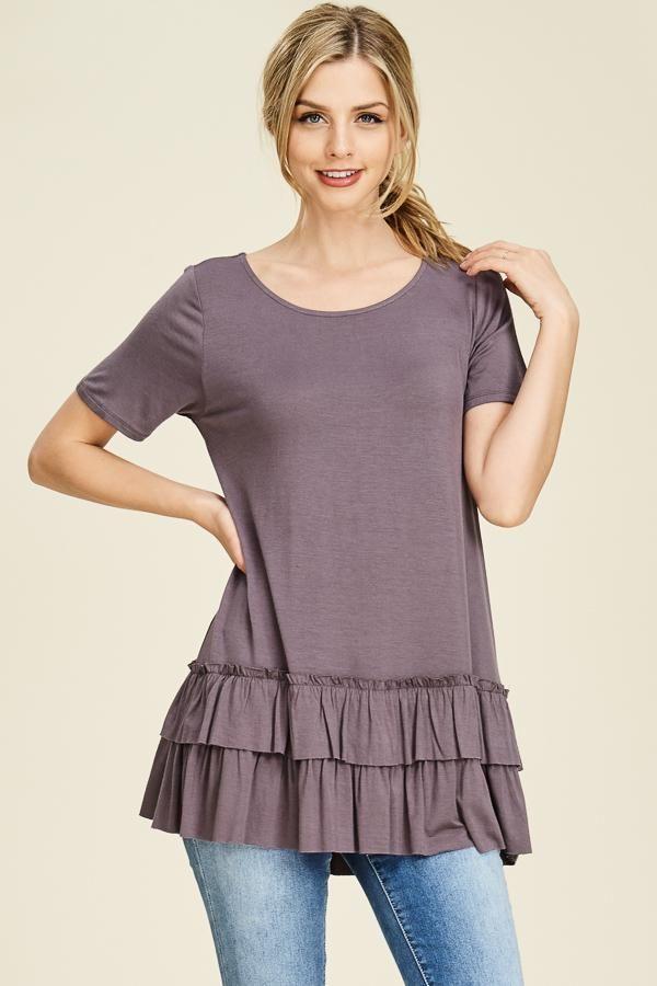 Purple double ruffle top