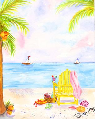 cottages and beach living paintings Beach Day with Coctail and Chair