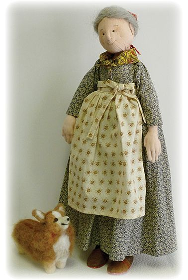 A charming Tasha Tudor doll complete with corgi, handcrafted by Leslie Molen. You can take a class to make your very own at the John c Campbell Folk School in September 2014!