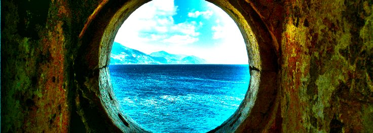 Fiskardo view from old lighthouse Kefalonia blue colours