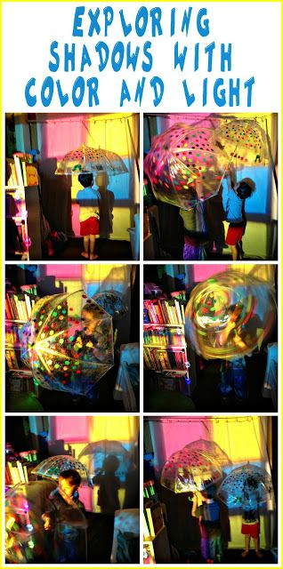 Exploring colorful shadows and light with umbrellas and an overhead projector