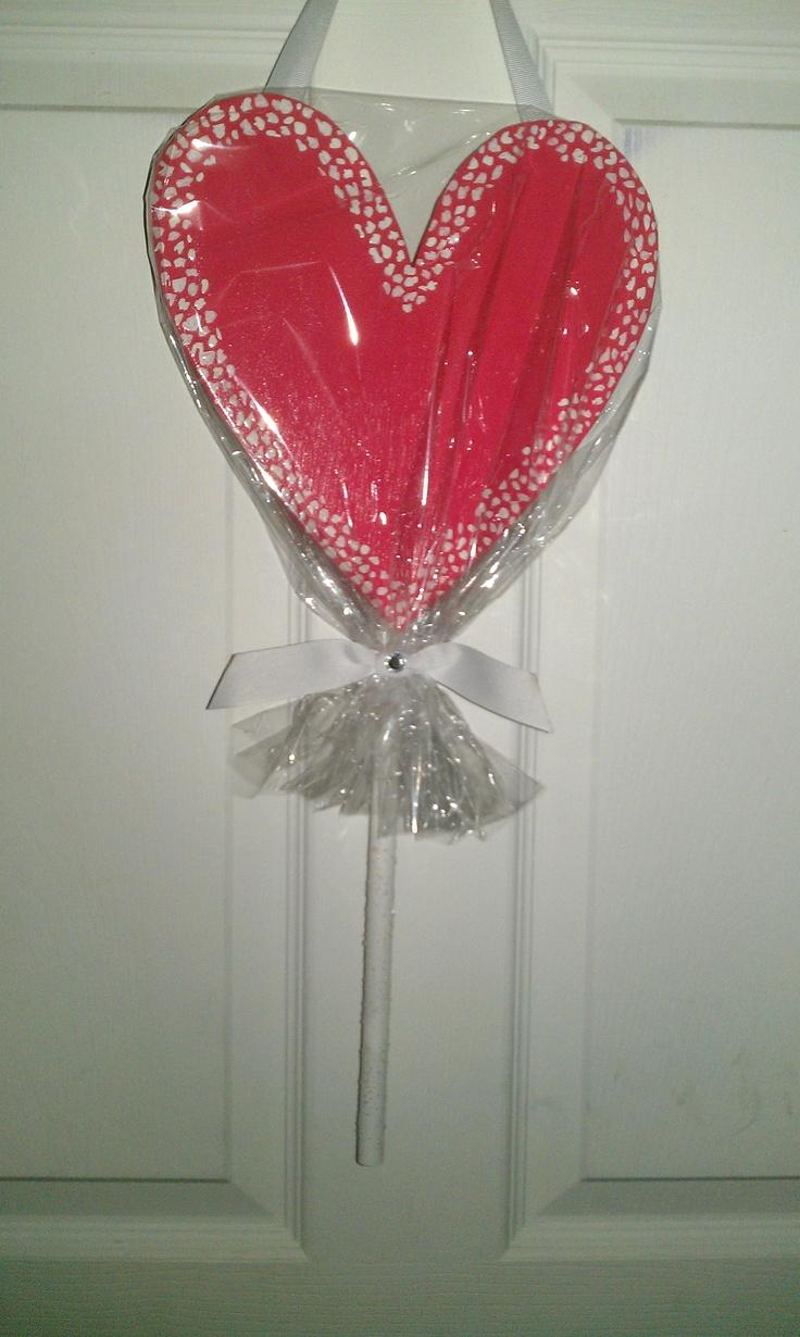 Valentine candy sucker, made of wood.: Valentines Candy, Things Valentine'S, Wood Crafts, Things Valentines