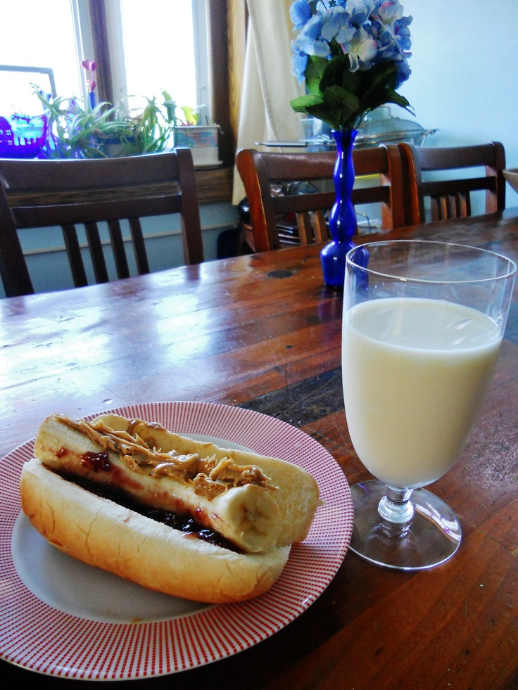 Breakfast Tip: Get some giggles by putting a banana in a whole-wheat hot dog bun and topping with peanut butter & jelly!