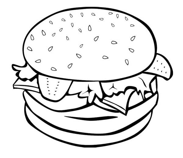 Breakfast Fast Food Burger For Breakfast Coloring Page