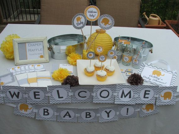 Yellow Gray Baby Shower Decorations Elephant Party Package Printable Boy  Girl Gender Neutral. $20.00,