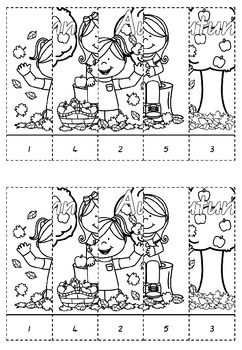 AUTUMN NUMBER PUZZLES - CUT AND PASTE - TeachersPayTeachers.com