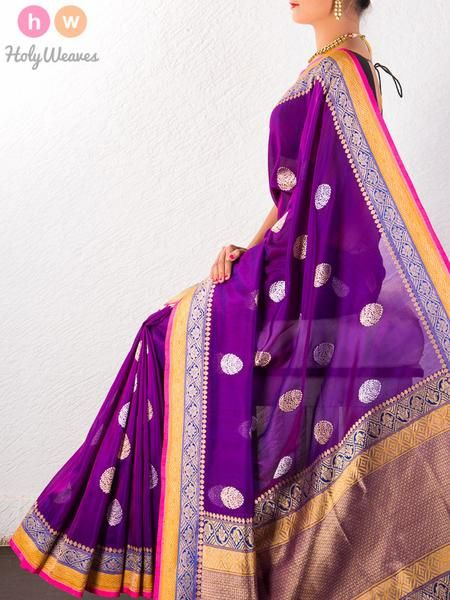 Purple Handwoven Katan Georgette Kadhuan Brocade Saree - HolyWeaves - 1