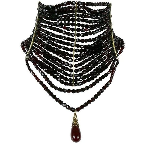 Christian Dior Iconic Multi Strand Edwardian Inspired Red Glass Choker... ($2,050) ❤ liked on Polyvore featuring jewelry and necklaces