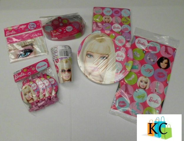 Barbie Plates, Cups, Napkins, Hats, Loot bags, Table cover, Blowouts $52.20 Layby Welcome on All Sets.. $10 per week