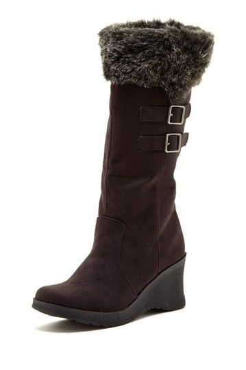 Unionbay Tower-O Faux Fur Wedge Boot
