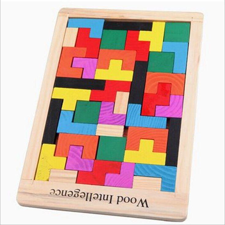 Colorful Kayu Tangram Otak Teaser Puzzle Tetris Pra Magination Intelektual Pendidikan anak-anak Mainan Untuk Anak-anak Permainan Bayi