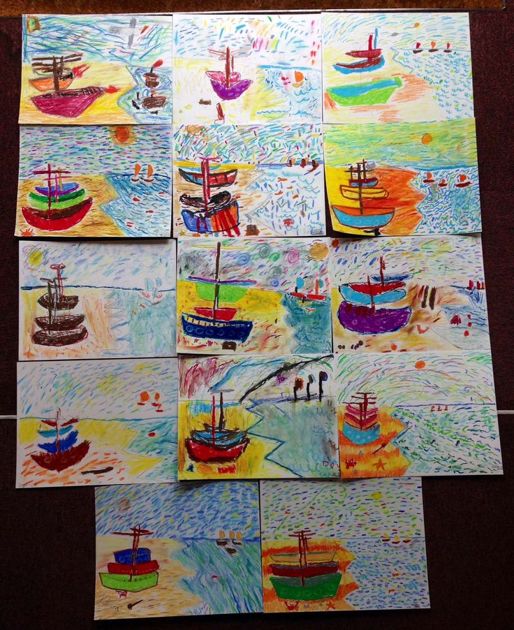 ** I love these beautiful bright Van Gogh masterpieces! ** There are still a few spaces on this weeks workshops. For more info and to book online visit: www.FineArt4Kids.com
