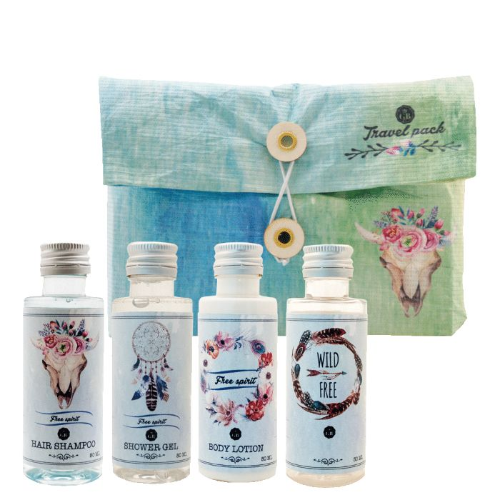 Travel pack Boho (Dead Sea): Shower Gel 50 ml, Hair Shampoo 50 ml, Body Lotion 50ml, Free Bottle 50 ml. Best Gift Pack for her, girls, ladies, fashion lovers..