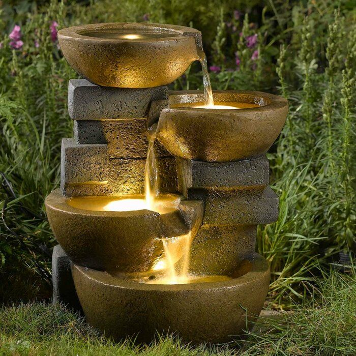 Jeco Inc Resin Fiberglass Zen Tiered Pots Fountain With Led Light Reviews Wayfair Water Fountains Outdoor Garden Water Fountains Water Fountain