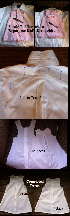 Repurpose a men's button down shirt into simple toddler shift. (1) Trace existing dress as pattern adding margin for seam. (2) Cut out pattern (3) Sew together for simple dress Notes: the buttons make up dress back & this shirt had nice yoke & finished pleat that (used inside-out) made slick finished box pleat for dress front.