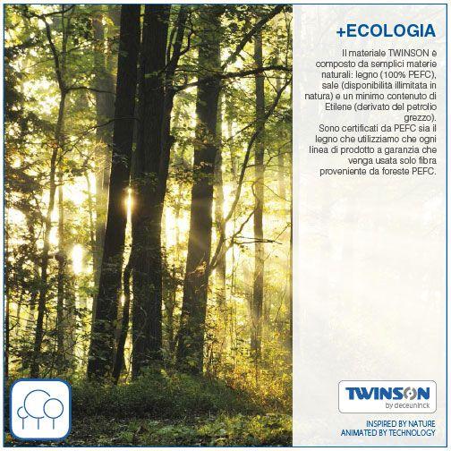 +ECOLOGIA - Il materiale TWINSON è composto da semplici materie naturali: legno (100% PEFC), sale (disponibilità illimitata in natura) e un minimo contenuto di Etilene (derivato del petrolio grezzo). Sono certificati da PEFC sia il legno che utilizziamo che ogni linea di prodotto a garanzia che venga usata solo fibra proveniente da foreste #PEFC. #ECOLOGIA #WPC #Twinson #legnocomposito #Deceuninck