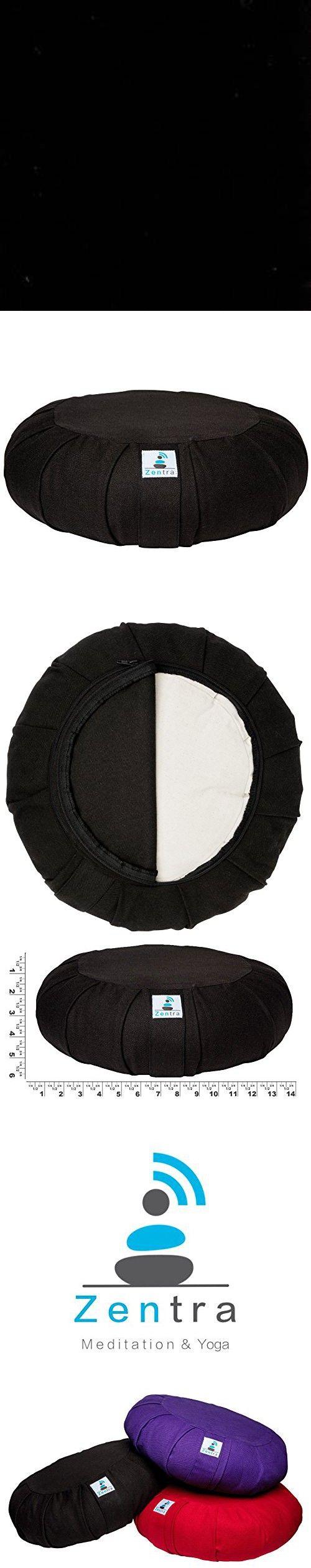 Zentra Zafu Yoga Meditation Cushion Cotton Fill Pleated (Black)