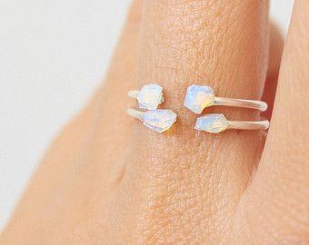 Anneau d'Opale blanche opale anneau or anneau de par TinyBox12