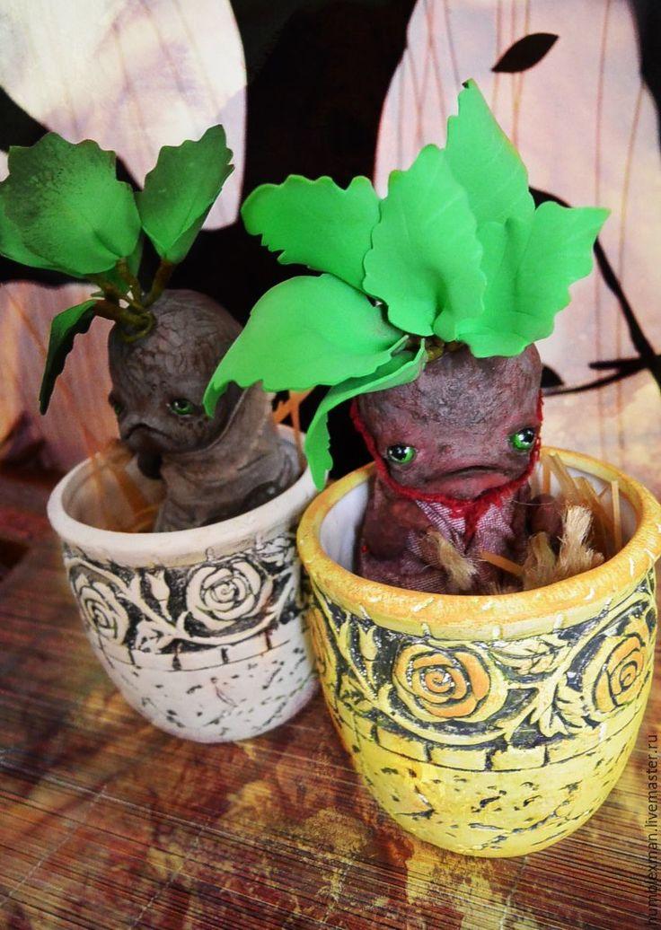 Купить Eva Mandrake - коричневый, мандрагора, корень, мифическое существо, фоамиран, полимерная глина, фоамиран