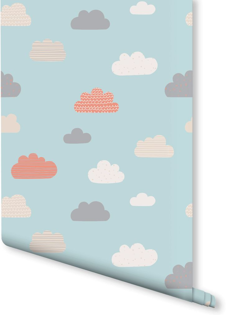 Bring some creative calm to your child's room. This stylishly adorable wallpaper features a pattern of little coloured clouds floating through a blue sky. Perfect for a nursery or child's bedroom.
