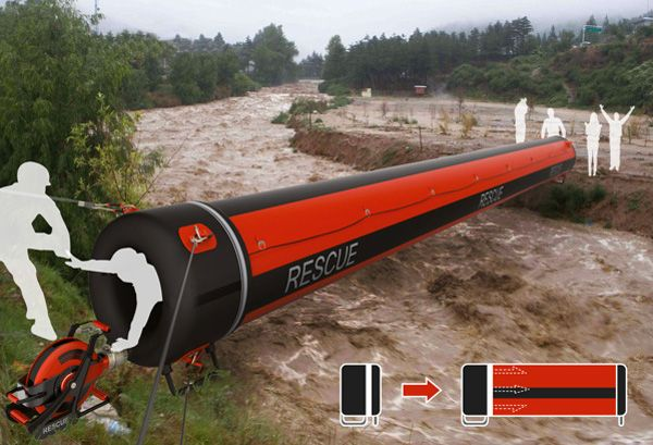 Air Rope - Inflatable Rescue Tunnel for Flood Situations by Lee Jee Won, Lee Yong Ho, Lee Juan - Air Rope is an inflatable rescue tunnel that can be deployed during flood situations. It is a safer option to the rope pulley system and is easier to use. Read more at http://www.yankodesign.com/2013/12/26/the-air-walk/#tg5fyzD4uh5fW1QH.99