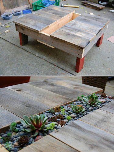 Meuble en palette pour le jardin = Cactus