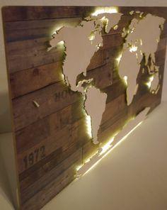 Beleuchtete 3D-Weltkarte aus Holz Vintage-Look von merkecht auf Etsy
