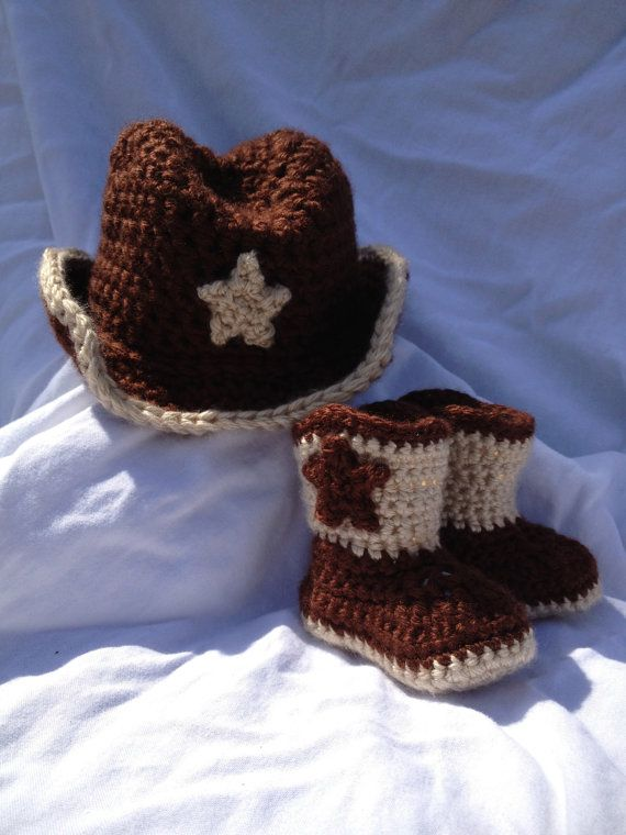 Crochet Baby Boy/ GirlBrown Cowboy Hat and Bootie set by cmiron